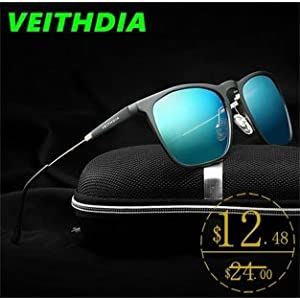 2017 Brand Mens Square Retro Aluminum Mirrored Sunglasses Polarized Vintage Eyewear Accessories Sun Glasses Blue 6368 VEITHDIA Not in love after 15 days? Return it! Learn more