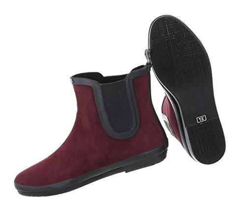 Damen Schuhe Stiefeletten   Segel Boots   Wassersport Schuhe   Gummi Boots   Wasserski   Surfboots   Kite Stiefel   Schuhcity24 Modell Nr1 Weinrot