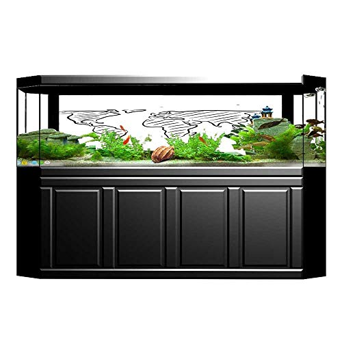 Jiahong Pan Decorative Aquarium an Outline Sketch of The Map in Drawing Effect Print Blackwhite Aquarium Sticker Wallpaper Decoration L29.5 x H21.6