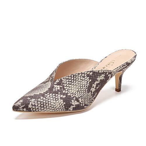 Mackin J G224-1 Women Faux Suede Pointy Heel Kitty Mule(7.5, Snake)