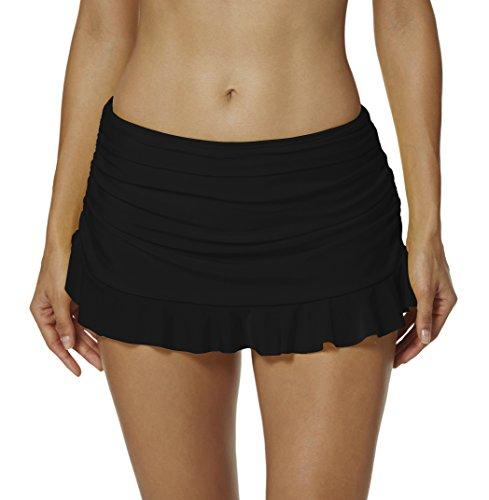 (Cityoung Womens Swim Skirt Ruffle Skirted Solid Mini Bikini Bottom with Briefs Beachwear Black 10 )
