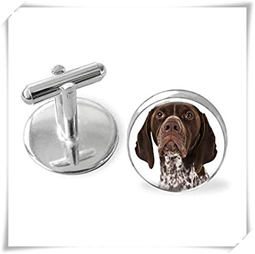 (memory Your German Shorthaired Pointer Dog's Photo on Cuff Links.Dome Glass Ornaments, Personalized Cuff Links)