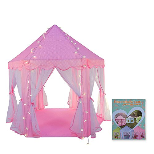 Truedays Girls Princess Castle Play Tent Large Playhouse Indoor Outdoor for Kids with Led small Star Light string, No Balls
