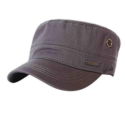 CACUSS Men's Caps Army Hat Cotton Classic Military Hats Adjustable Comfy Cadet Hat Vintage Flat Top Cap Baseball Cap(Grey)