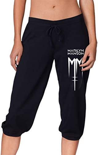 スウェット ハーフパンツ Marilyn Manson マリリンマンソン ロゴ シンプル デザイン ジャージ 七分丈 伸縮 スポーツ ルーム ショート レディース カジュアル S-2XL
