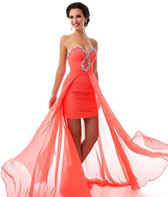 Amazon.com: 2013 Coral Strapless Keyhole High Low Prom