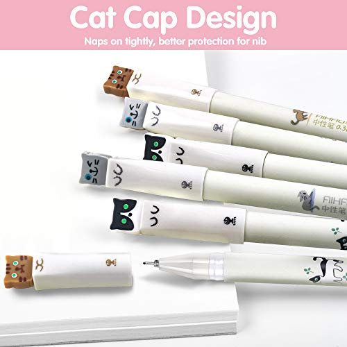 Cat Pens, 12 Pcs Cute Pens Japanese Kawaii Cat Gel Pen w/Pink Pen Case, 0.38mm Black Ink Pens for Stationary School Office Supplies, Ideal Cat Lover Gifts for Women Photo #5