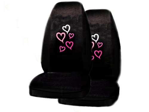 A Set of 2 Universal Fit Red and Pink Hearts Seat (Hearts Bucket Seat Cover)
