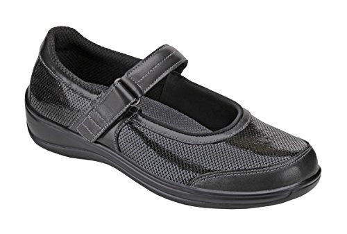 Orthofeet Oakridge Womens Comfort Orthotic Orthopedic Diabetic Mary Jane Shoes Black Fabric and Leather 10.5 XW US by Orthofeet