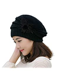 Mapletop Womens Flower Knit Crochet Beanie Hat Winter Warm Cap Beret