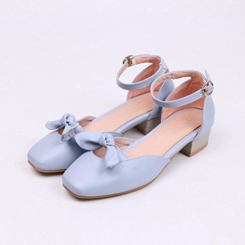 Blue Court Women's Heel Carolbar Shoes Lovely Toe Square Mid Sweet Bow v8nqU6P