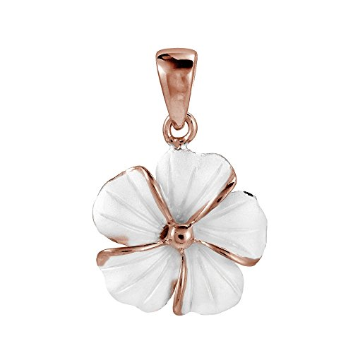 AeraVida Hawaiian Plumeria Flower Rose Gold Over .925 Sterling Silver Pendant