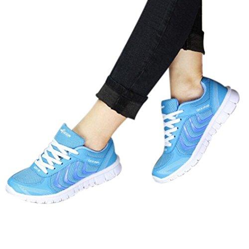 Tefamore Zapatillas de deporte Zapatos deportivos de los planos atléticas ocasionales de la malla respirable del verano de las mujeres Azul