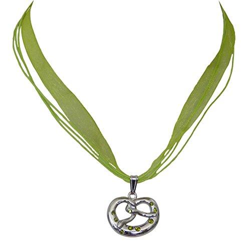 Trachtenschmuck Dirndl Kette - Kristall Brezel Anhänger mit Strasskristallen Olivine grün - Bänder Collier farbe wählbar