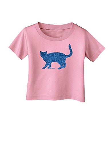 (TooLoud Cat Silhouette Design Blue Glitter Infant T-Shirt - Candy Pink - 06Months)