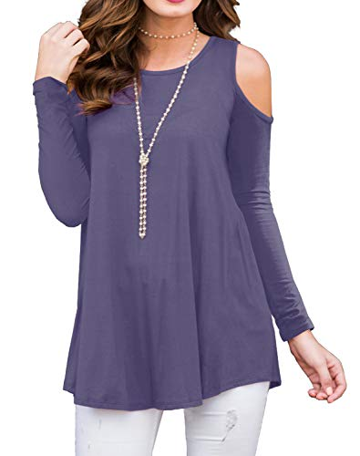 - PrinStory Womens Long Sleeve Off Shoulder Round Neck Casual Loose Top Blouse T-Shirt Purple Gray-M