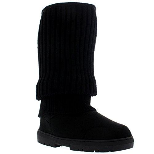Mujer De Altura Cardy De Punto Nieve Lluvia Al Aire Libre Zapato Botas Negro De Punto