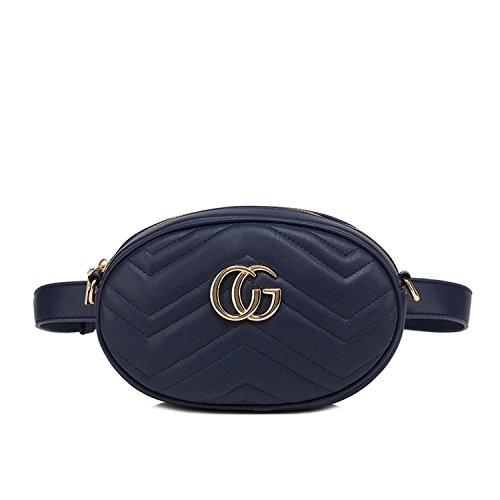 Blue Leather Inspired Designer bee bumbag Faux Two with and Stripe Large Bag Shoulder Motif Tone ZEZx6Fqdw
