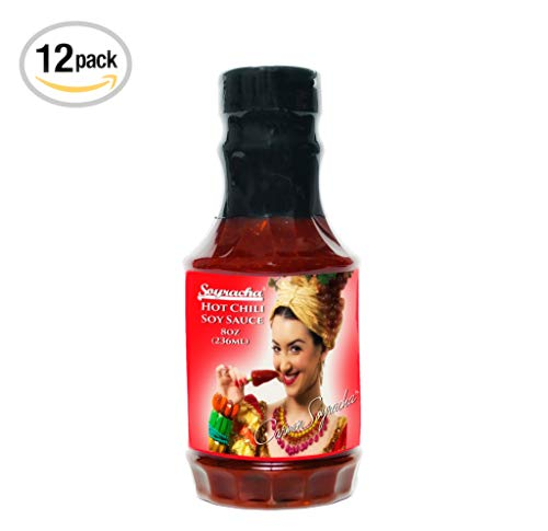 Carmen Soyracha's Hot Chili Miso Soy Sauce (Twelve 8 Ounce PET Bottles) - Spicy Flavor for Stir-Fry, Grilled Food, Meat, Fish, Poultry - Made in the USA
