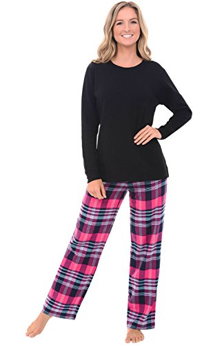 - Alexander Del Rossa Womens Flannel Pajamas, Knit Top Cotton Pj Set, XL Pink Multi Plaid (A0700Q24XL)