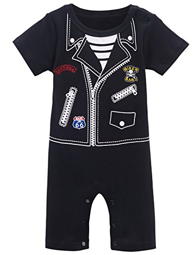 Mombebe Baby Boys' Western Cowboy Costume Romper (6-12 Months, Biker) - 9-12 Month Cowboy Costume