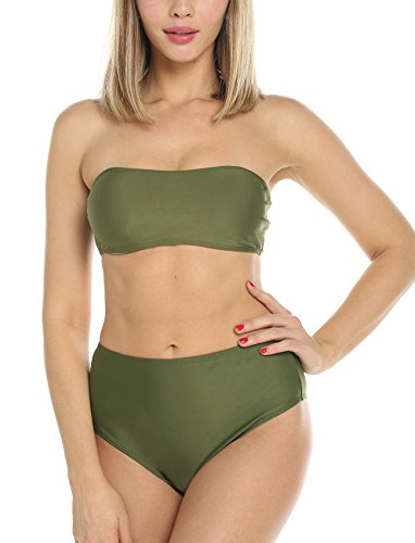 FITTOO Women's Padding up Sexy Bikini Set Solid Color Strapless Swimsuit High Waist Beachwear s