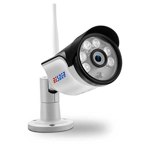 BESDER Outdoor Wireless Security Camera, Full HD 1080P WiFi IP Surveillance Bullet Camera Waterproof Camera with Motion Detection Alert/Night Vision, Support Max 128GB SD(Not Included)