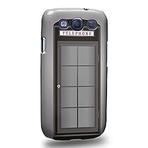 Case88 Premium Designs Art Grey Telephone Booth Carcasa/Funda dura para el Samsung Galaxy S3