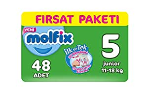 Molfix 3D Bebek Bezi, Junior 5 Beden, Fırsat Paketi 48 Adet