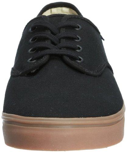 Vans Mens Madero Ankel-høy Lerret Skateboardskoen Svart / Gummi