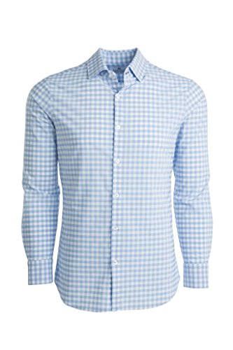 - Mizzen + Main Leeward Trim Fit Mens Button Down Shirt | Non-Iron, Machine Washable, Sweat Wicking | Hampton Light Blue Gingham