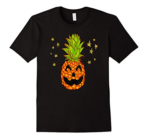 Mens Pineapple Happy Halloween Tropical Pumpkin Hawaiian Shirts Large Black (Halloween Costumes With Hawaiian Shirts)