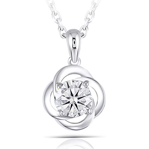 DOVEGGS Platinum Plated Silver 0.6ct 5.5mm Grey Tinted Heart Arrows Cut Moissanite Pendant Necklace Solitare with Platinum Plated Silver Chain for Women