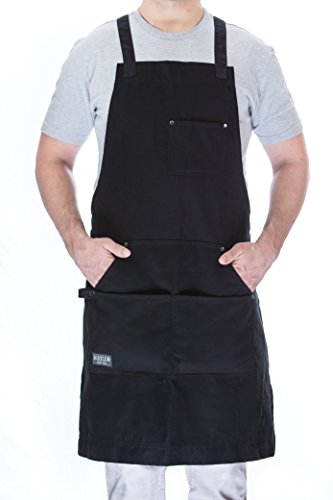 - Hudson Durable Goods - Professional Grade Chef Apron for Kitchen, BBQ, and Grill (Black) with Towel Loop + Tool Pockets + Quick Release Buckle, Adjustable M to XXL