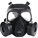FIRECLUB CS M04 Face Protection Mask (for CS Game Phisical Protection, not for Gas from The fire) Wicking Anti-Fog Double Wind Drum with Fan Gas mask Live CS Field Equipment (Black)