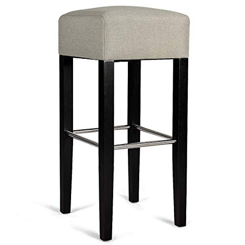 Backless Seat Kitchen Dining Wood Legs Bar Stool Sturdy and Durable Construction Contemporary Design Comfortable Soft Chair with Footrest Living Room Kitchen Furniture Home Pub Elegant Decor (Decoracion De Salas Con Muebles De Madera)