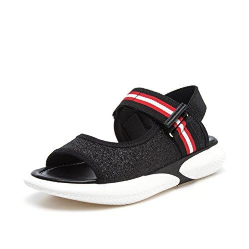 pour Chaussures Noir Été Talon Femme Loisir Marche Plateforme Sandales Confortable 42 Mode 34 5wXOg7q