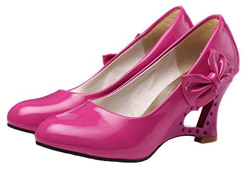 Idifu Womens Sweet Bow Wedge Cuore Gattino Tacchi Pompe Scarpe Da Lavoro Ufficio Rosa Rossa