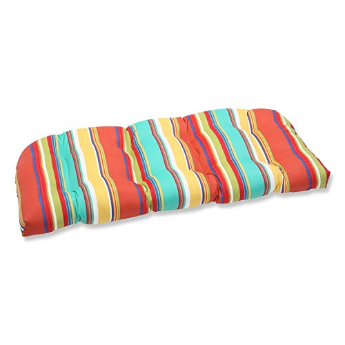 Pillow Perfect Outdoor Westport Spring Wicker Loveseat Cushion, Multicolored ()