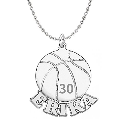 HACOOL 925 Sterling Silver Personalized Unisex Men Basketball Necklace Custom Made with Name & Number (Women:2.02.0cm+18 inch chain) (Ladies Personalized Basketball)