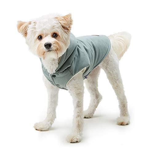 - My Fluffy Dog Apparel Pastel Warm Jacket Hoodie for Dog Winter Coats Vest (X-Lagre, Grayish Blue)
