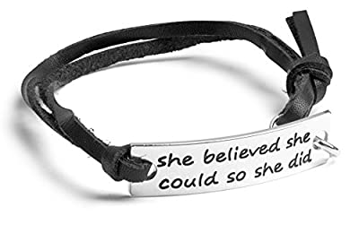 """Inspirational Jewelry Bracelet – """"She Believed She Could So She Did"""" Quote – Silver Charm Wrap – Engraved Sayings for Inspiration, Motivation – Perfect Gift for Women, Men, Teens, Girls"""