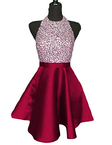 Scarisee Women's Halter Jewel Neck Beaded Short Mini Homecoming Dresses Pockets Junior Prom Cocktail Party Gowns Fuchsia 04