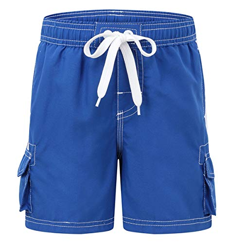 Hawaiian Swim Lined Trunks (Akula Big Boys' Swimming Trunks with Mesh Lning Soft Quick Dry Beach Swim Shorts Bathing Suit Royal Size (14/16))