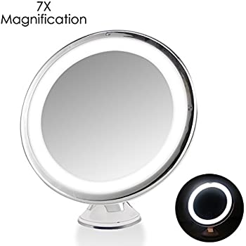 7x magnifying lighted makeup mirror oenbopo 360 rotation warm led tap light bathroom vanity mirror touch control onoff round shape led lighted vanity - Lighted Vanity Mirror