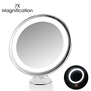 7x magnifying lighted makeup mirror oenbopo 360 rotation warm led tap light. Black Bedroom Furniture Sets. Home Design Ideas