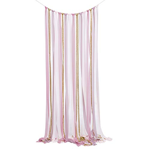 Ling's moment Dusty Rose Chiffon Ribbon Garland Backdrop DIY KIT for Rustic Boho Wedding Backdrop Ceremony Stage Decor Fabric Tassel Garland -