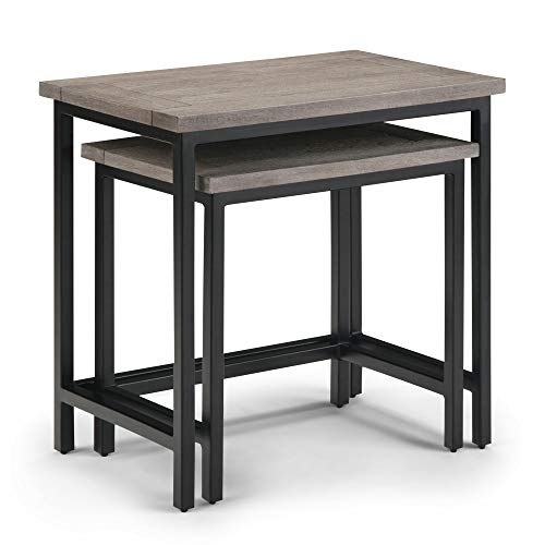 Simpli Home 3AXCSKY-06BI Skyler Solid Mango Wood and Metal 25 inch Wide Industrial 2 Pc Nesting Side Table in Birch, Fully Assembled