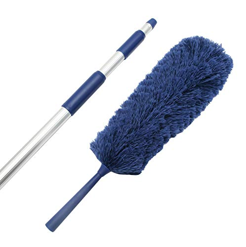 Extension Rod & Blue Extension Duster, Extend 18-20 feet Cleaning High Ceilings, Cathedral Ceilings, Ceiling Fans, Book Shelve, Curtain Rods, Micro Fiber Duster, Cobweb Duster, Pest Control (Extendable Duster)