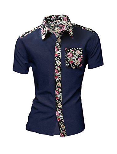 uxcell Men Point Collar Floral Pattern Button Down Pocket Shirt Navy Blue M(US 40)
